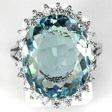 Women Fashion 925 Sterling Silver Aquamarine Wedding Engagement Ring Size 6-10