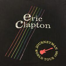 Vintage Eric Clapton 1990 Concert T-shirt 2-sided Journeyman World Tour Guitar