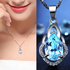 Gorgeous 925 Silver  Blue Topaz Crystal Drop Pendant Necklace Wedding Jewelry