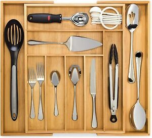 Bamboo Expandable Cutlery Tray, Premium Drawer Organiser and Utensil Tray, Pure