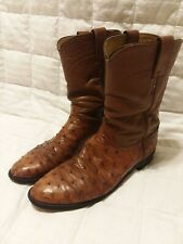 Justin #1251 Cowboy Boots, Brown Leather & Ostrich Full Quill 9 B, Usa, Western