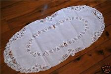 Dainty Batten Lace Hand Embroidery Runner Oval 36x86cm