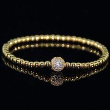 Mens 18k Gold Plated Diamond Ball Beaded Bracelets Clear Crystal on Gold