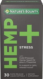 Nature's Bounty Stress Support - Relaxed Mood, L-Theanine, 30 Liquid Softgels