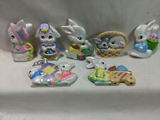 Lot Of 7 Ceramic Easter Decorations Rabbits Bunnys