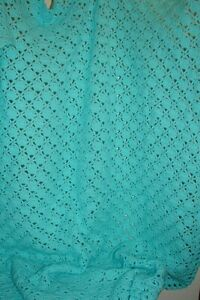 "Vintage Hand Crocheted Turquoise Blanket Afghan 70"" x 56"""