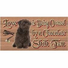Shih Tzu Wood Sign - Chocolate Shih Tzu  1250 Wood Plaque--GiggleSticks