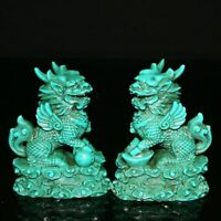 Chinese Exquisite Turquoise Hand-Carving kirin statue a pair 10037