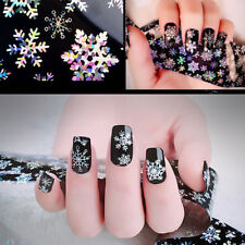 Christmas Silver 3D Nail Art Stickers Decals Decoration Snowflake Star NSTG