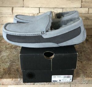 New UGG Men's Size 9 Ascot Moccasin Slipper GYS Gray Blue