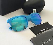 Dolce & Gabbana DG6097 Unisex Blue Half Rim Rubber Flexible Mirrored Sunglasses