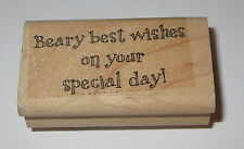 Beary Best Wishes on Your Special Day Rubber Stamp Retired Stampin' Up! RARE