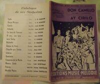 Ancienne Partition Don Camillo Ay Cirilo Paso Doble Luis Mostello Accordéon