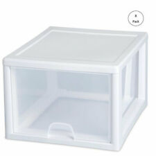 Sterilite 27-Quart Single Box Modular Stacking Storage Container, Clear (8 Pack)