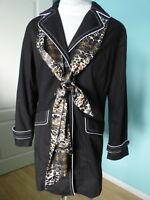Dennis Basso black animal print jacket coat with scarf size M 10 12 NEW