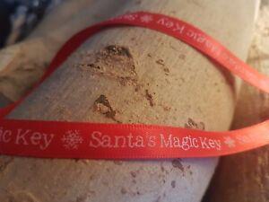 10mm Santa's Magic Key satin ribbon - Christmas crafts house with no chimney