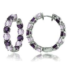 Sterling Silver African Amethyst and Amethyst 28mm Hoop Earrings
