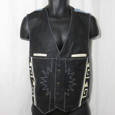 Black Faux Leather M Southwestern Aztec Denim Vest Shooter Snap Front