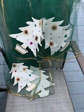 Vintage Christmas Holiday Tree Xl Rectangle Tulle Netting Felt Sequin Tablecloth