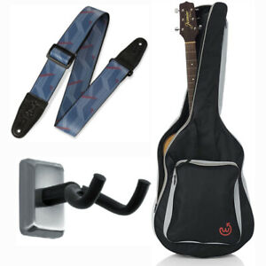 Guitar Accessories Bundle- Wayfinder Acoustic Gig Bag with Wall Hanger and Strap
