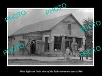 OLD 8x6 HISTORIC PHOTO OF WEST JEFFERSON OHIO THE FEDER HARDWARE STORE c1900