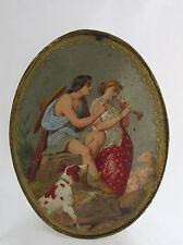 Old Civil War Era Paper Oval Candy Container Box Hand Painted Gold Leaf Lovers