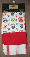 Pack of 3 Kitchen Tea Towels 100% COTTON Home Cloth Dinning Room Gift FOREST OWL