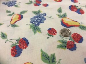 """Vintage Feedsack Fabric approx 40x42"""" colorful fruits on white"""