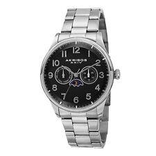 New Men's Akribos XXIV AK790SSB Day/Night Indicator Silver-tone Bracelet Watch