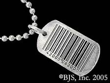 Barcode Necklace, Geek Tags Jewelry, Sterling Silver Dog Tag, Made in USA