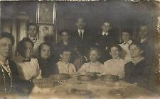 Group Photograph at Dining Room Table Black and White RPPC Postcard