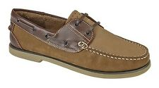 DEK M551 Moccasin Lace up Leather Boat Shoes Brown Nubuck 11