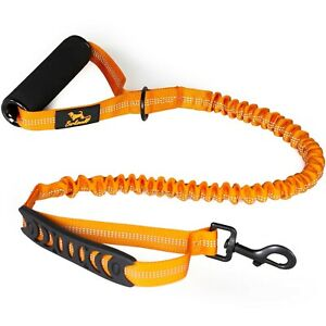Barkswell Strong Dog Lead No Pull Shock Absorbing Bungee Leash 2 Handles Orange
