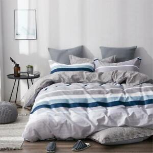 All Size Bed Quilt Duvet Doona Cover Set 100% Cotton Bedding Pillowcase Blue
