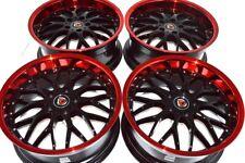 """4 New Ddr R6 18x8 5x114.3 35mm Black/Red Lip 18"""" Wheels Rims (Fits: Kia)"""