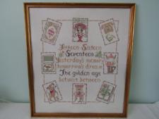 Vintage 1971 Large Gold Framed Embroidered Sampler Seventeen Teenage Memories