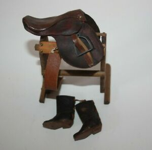 Vintage Toy Miniature Leather Horse Saddle boots and saddle stand