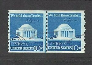1973 10¢ Coil Memorial Stamps, Scott #1520 -- Lightly Canceled Joint Line Pair~