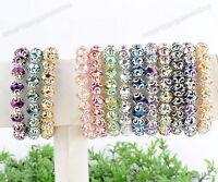 Vintage Crystal Glass Faceted Bead Flower Wrap Cap Women Bangle Bracelet Fashion