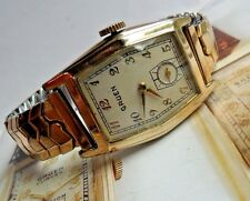 Vintage 1939 Men's Gruen Gold Tone Cushion 17 Jewel Watch Model 410C/481 Runs