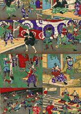 Japanese woodblock print Original Ukiyoe Toy Picture Samurai