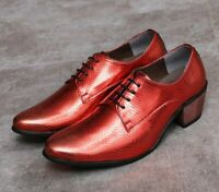 Men's Shiny Leather Lace Up Pointed Toe Dress Formal Oxfords Shoes Trendy Muk15