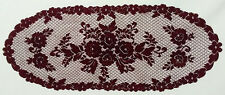 "Heritage Lace Victorian Rose Burgundy 14"" x 34.5"" Table Runner"
