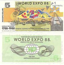 In Australia World Expo 5 DOLLARI 1988 Brisbane UNC FIOR delle banconote