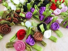 80 Satin Ribbon Rose Rosebud Flower Leaves Applique/Dress Trim/Craft/8 Color F19