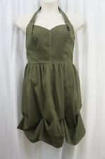 M60 Miss Sixty Dress Sz 12 Drab Army Green Crinkle Halter Casual Cocktail Dress