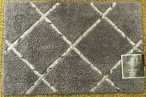 Croscill SLOAN Bath Rug 20 x 30 Cotton Gray with Silver Applique