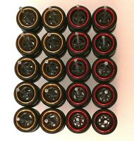 HOT WHEELS REAL RIDERS WHEELS RUBBER TIRES RED & GOLD RING 10MM 10 SETS 1/64
