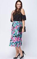 New Evans Black Pink Blue Green Leaf Print Tropical Flare Summer Skirt 16-26