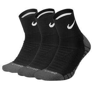 New Nike 3 Pair Dri-Fit Cushion ANKLE Socks Large SX5549-010 Tennis Running MAX